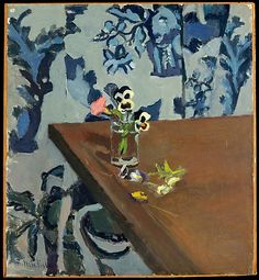 This has the best of what I love in Matisse's still life paintings... Henri Matisse | Pansies, 1903.