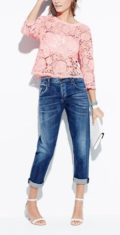 Love! Blue boyfriend jeans + coral crotchet top.