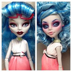 """Before & After - Just insanely stunning!!! By Erregiro on Flickr"" See this? This right here is why I adore Monster High dolls. Well the girls anyway. They guys not so much. But they got the sculpt for the girls beautifully done. Take the factory paint off and get crackin'. :D"