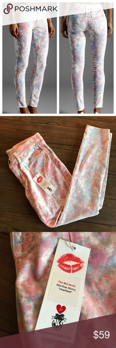 """NWT Wildfox Marianne Heartbeat Skinny Jeans Pants Brand new jeans by Wildfox. The Marianne style. Mid rise, skinny jeans. Velour feel. Heartbeat color. Pink, blue and white splatter. Inseam, 30"""". Size 31 💕 Wildfox Jeans Skinny"""