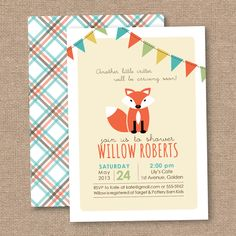 Fox Red Baby Shower Invitation, DIY Printable