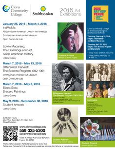 Save these dates to view our exciting art exhibitions; including IndiVisible: African-Native American Lives in the Americas from the Smithsonian American Art Museum. Don't miss this opportunity to explore culture locally! #SmithsonianArtMuseum #art #exhibitions #artexhibitions #Clovis #Fresno #CentralValley #559 #ClovisCa #FresnoCa #StudentActivities
