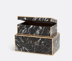 Objects | Product Categories | Made Goods - Harold nero marble and brass bordered box set, gorgeous