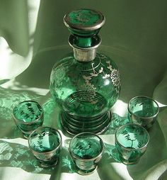 Silver Painted Green Glass Cordial Decanter Set