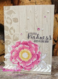 By Renee Lynch, Blended Bloom Beauty Stampin' Up! Blendabilities, Melon Mambo, Crumb Cake / Kinda Eclectic / Stippled Blossoms.