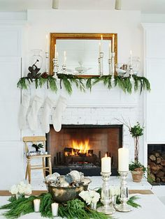 white + green christmas mantel
