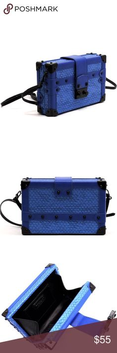 Brand New Blue Croc Box Clutch Crossbody Handbag A must have KEY ITEM for 2017. According to trend forecast, we all should have a fashion forward look through adding a structured boxy accessory to complete our #OOTD! Since were all about making a statement here at iBESTEST, we have this bright and vibrant blue with black trimmings box clutch to help you standout from the crowd of people that to blend in. Vegan Item - Animal Cruelty Free- Made with high quality faux materials! Bags Clutches…