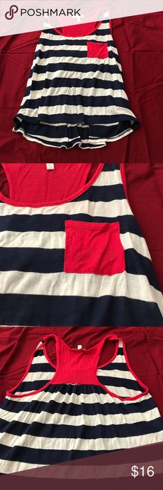 Delias crop tanktop ❤️ Red white and blue crop tanktop• sleeveless• pocket in front• 50% polyester-50% rayon• Delia's Tops Crop Tops