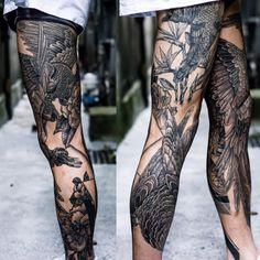 Insane leg sleeve tattoo by MxM
