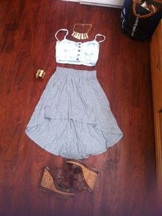 Outfit 15 Button up denim mid drift, high wasted layered skirt, brown leather and cork wedges