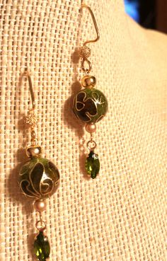 Beautiful Green Floral Cloisonne Earrings with Emerald Green Swarovski Crystal Drops Dangling Dark Green Cloisonne Gold Earrings by FlowerFelicity on Etsy https://www.etsy.com/listing/253544609/beautiful-green-floral-cloisonne