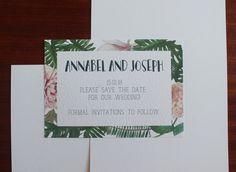 PDF Printable Botanical Floral Wedding Save The Date Digital Downloadable Invitation