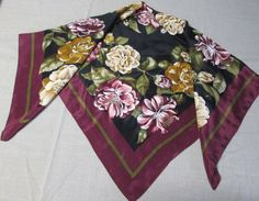 Vintage Large Floral Scarf by AlternatingPatterns on Etsy