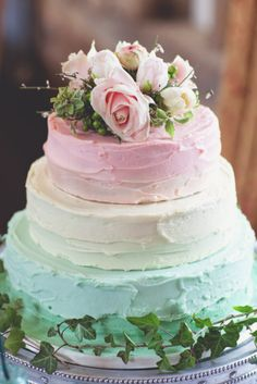 Inspiration - ombre pastel wedding cake  - 3 tiers - fruit cake, chocolate cake & carrot cake