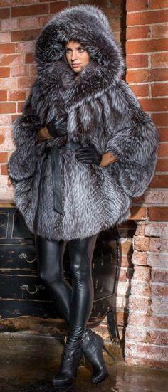 Fox Fur Hooded Poncho