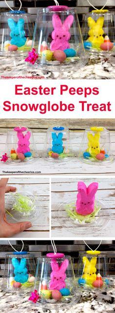 Easter Peeps Snow Globe Treat, easy kids craft/ treat idea, Easter treats