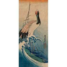 Crane in Waves 1833 Canvas Art - Ando Hiroshige (24 x 48)