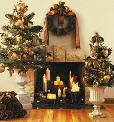 Christmas decor: pine cone wreath and tree in urn decorated with burnt orange ribbons & gold ornaments -- design: Saley Nong -- photo: Kim Cornelison -- Christmas Ideas magazine, 2003
