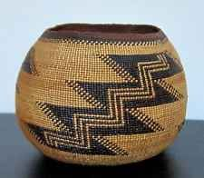 Native American Hupa Basket with Geometric Design