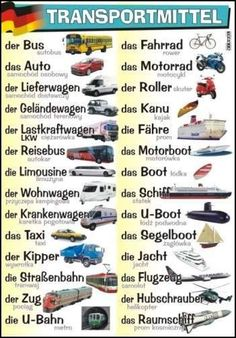 Deutsch - Vocabulaire : Transportmittel (Moyens de transport)