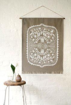 HEMP WALL-HANGING / featuring original Polish folk art design, printed onto raw hemp in white.