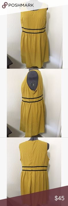 Beautiful day dress by Doe & Rae. Size 3X. NWOT. Never worn. I'm in love with this dress but it clashes with my Red hair 😭. It fits beautifully, doesn't require spanx and is so darn cute. Doe & Rae nailed it with this one. (Doe & Rae is a brand on Mod Cloth). This dress is a gorgeous mustard yellow with navy blue tint hearts and waist detail. Doe & Rae  Dresses
