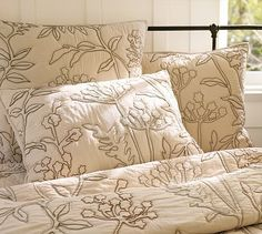 Botanical Embroidered Organic Quilt & Sham - Pottery Barn.  I love this bedroom!