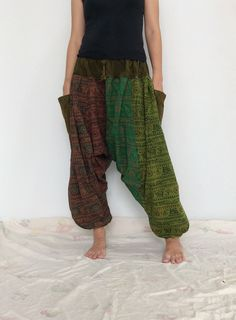 Mixed Colors  Hippie Harem Pants, Unisex Pants, Drop Crotch Pants, Baggy Pants with Om patterned (HR-629) by ThaiFascinate on Etsy