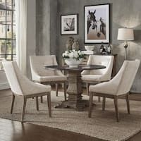 Shop for Janelle Round Rustic Zinc Dining Set - Sloped Arm Chairs by iNSPIRE Q Artisan. Get free delivery at Overstock - Your Online Furniture Shop! Get in rewards with Club O! Black Dining Room Furniture, Linen Dining Chairs, Dining Room Bar, Dining Chair Set, Arm Chairs, Dining Table, Dining Rooms, Pub Tables, Round Dining Set