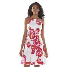 Dana Buchman Floral Fit & Flare Dress - Women's