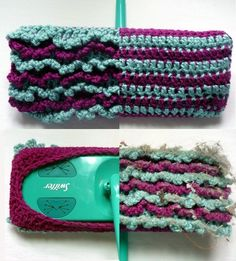 How to crochet your own 2-sided, reusable Swiffer covers using some scrap yarn from your stash.