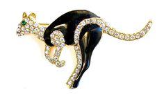 Vintage Kangaroo Brooch Pavé Rhinestone Black by silvermoonstars