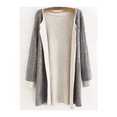 Round Neck Knit Grey Coat ($29) ❤ liked on Polyvore featuring grey