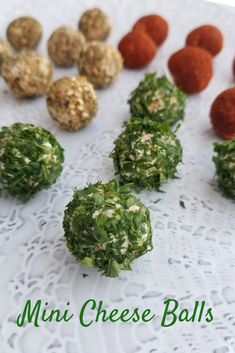 Mini Cheese Balls are a creamy mixture of gouda, old cheddar cheese and cream cheese. We've rolled them in parsley, chili powder and za'atar seasoning making them small enough to pop in your mouth. #cheeseball #minicheeseballs #appetizers #holidayentertaining via @Bakersbeans