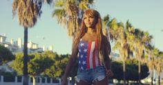 Pretty African Woman In Casual Summer Clothing #African, #Beautiful, #DanielDash, #Denim, #Exotic, #Female, #Girl, #Outdoor, #PalmTrees, #Sexy, #Shorts, #Street, #Summer, #Sunset, #Urban, #Woman https://goo.gl/TSGdMy