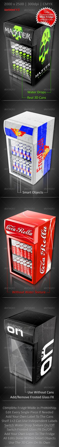 Energy Drink Soda Can Mini Fridge Mockup #GraphicRiver PHOTOSHOP EXTENDED WITH 3D FUNCTIONS REQUIRED ! HIGHLIGHTS