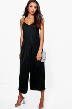 a2899c65825 Boohoo Tall Sadie Wrap Split Leg Strappy Culotte Jumpsuit Size 14 Uk BNWT  Black  fashion