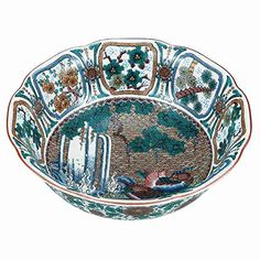 "Japanese drawn Ceramic Porcelain kutani ware. Dinnerware Serving bowl. Flower and bird."" Japanese ceramic Hagiyakiya K4-410 * Click image to review more details."