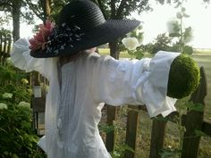 Another view of my newly created garden lady scarecrow.