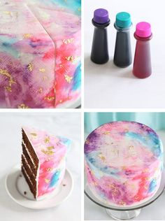 Watercolor Graffiti Chocolate Cake | Sprinkle Bakes. On fondant covered cake, use food colour (gel), dilute in vodka or clear vanilla extract, stipple. Overlap colours a bit for blended look.