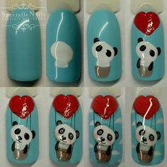 Step by step panda nail art Love Nails, My Nails, Panda Nail Art, Natural Gel Nails, Valentine Nail Art, Arte Floral, Nail Decorations, Nail Tutorials, Nail Manicure