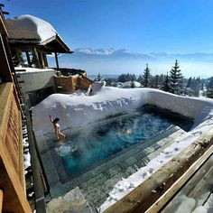 Climb the Swiss Alps in Switzerland. Hit the slopes, then relax in this heated pool at Lecrans hotel spa, Switzerland. Outdoor Heated Pools & Spas are definitely must Photo by © Lecrans Hotel & spa Checkout our new travel hub Spa Hotel, Hotel Pool, Dream Vacations, Vacation Spots, Vacation Places, Winter Vacations, Vacation Ideas, The Places Youll Go, Places To See