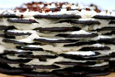 Icebox cake, also known as zebra cake or chocolate ripple cake. If I ever find the right wafers for it, I am so making this!
