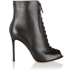 Gianvito Rossi Lace-up leather peep-toe ankle boots (34.545 RUB) ❤ liked on Polyvore featuring shoes, boots, ankle booties, black, black booties, lace up ankle boots, black leather booties, black peep toe booties and black high heel boots
