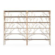 Autumn Shelf by Alvaro Uribe Design Tree Shelf, Shelf Design, Welding Projects, Nature Inspired, Tree Branches, Rose Gold Plates, Bookshelves, Connection, Furniture Design