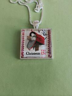 Mailbox Stamp Pendant Necklace by joytoyou41 on Etsy, $25.00