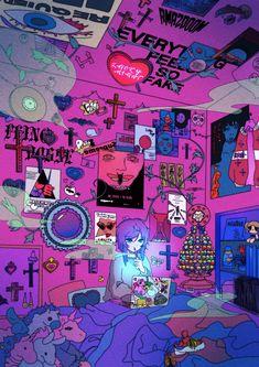 Twitter Arte Do Kawaii, Kawaii Art, Psychedelic Art, Animes Wallpapers, Cute Wallpapers, Pretty Art, Cute Art, Aesthetic Art, Aesthetic Anime
