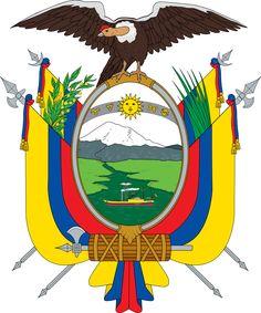 Brasão de armas do Equador. Coat of arms of Ecuador. National Symbols, National Flag, Equador Quito, Peru, Organization Of American States, Quito Ecuador, Galapagos Islands, Flags Of The World, Family Crest