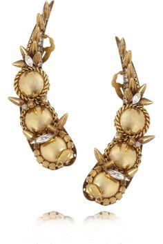Erickson Beamon|Velocity gold-plated Swarovski crystal earrings|NET-A-PORTER.COM