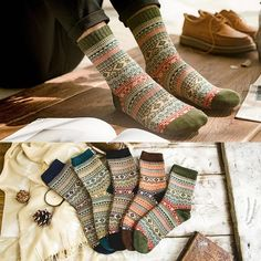 fea9b12fe LNRRABC Winter Thick Warm Stripe Wool Socks Casual Calcetines Hombre Sock  Business Male Socks